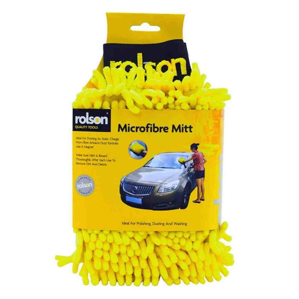 Rolson Microfibre Car Wash Washing Cleaning Mitt Glove Duster Micro Fibre 42987