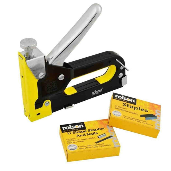 Staple Gun 3 In 1 Stapler Tacker With Staples Upholstery Rolson Heavy Duty 44319