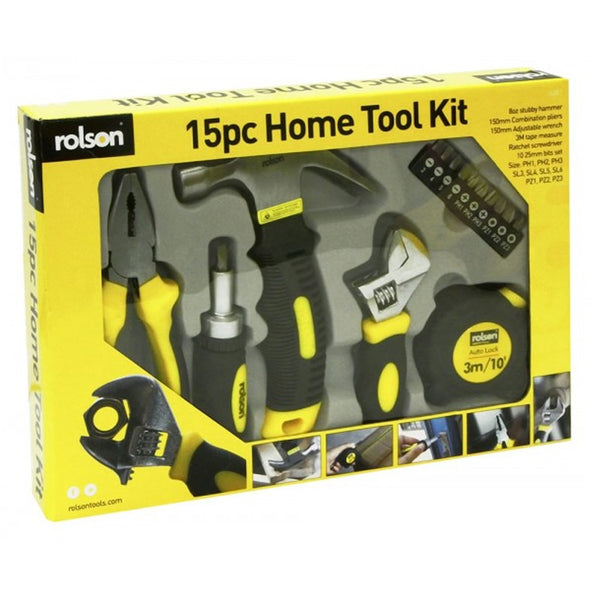 15pcs Professional Tool Kit DIY Set Fix Repair Home Basic Household Rolson 36807