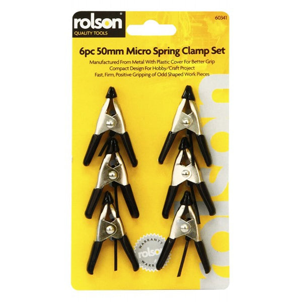 Clamps Spring Quick Clips Set 6 x 50mm Piece Nylon Spring Clamp Rolson 60341