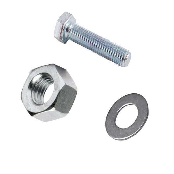 M6 x 50mm Set Screws Full Thread Bolts With Nuts And Washers High Tensile Zinc Plated