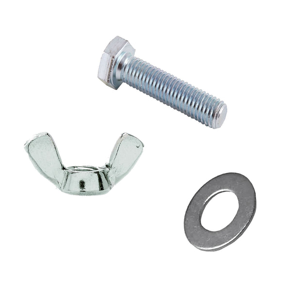 M6 x 30mm Set Screws Full Thread Bolts With Wing Nuts And Washers High Tensile Zinc Plated