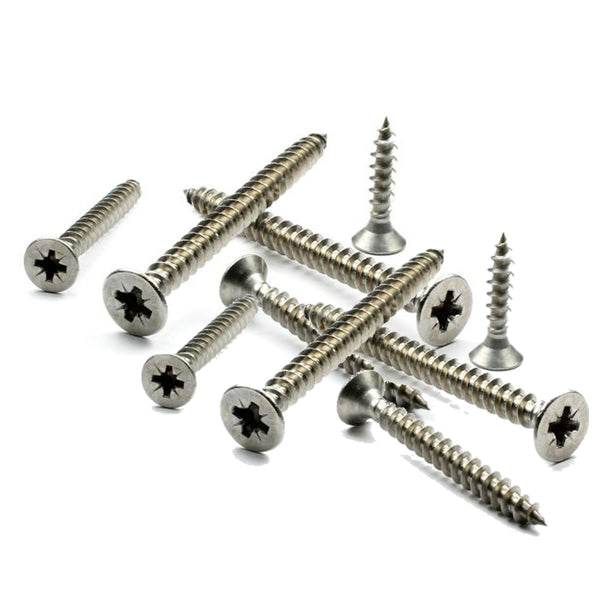Self Tapping Screws Pozi Counter Sunk A2 Stainless Steel Tappers 8 Gauge Screw 1 Inch