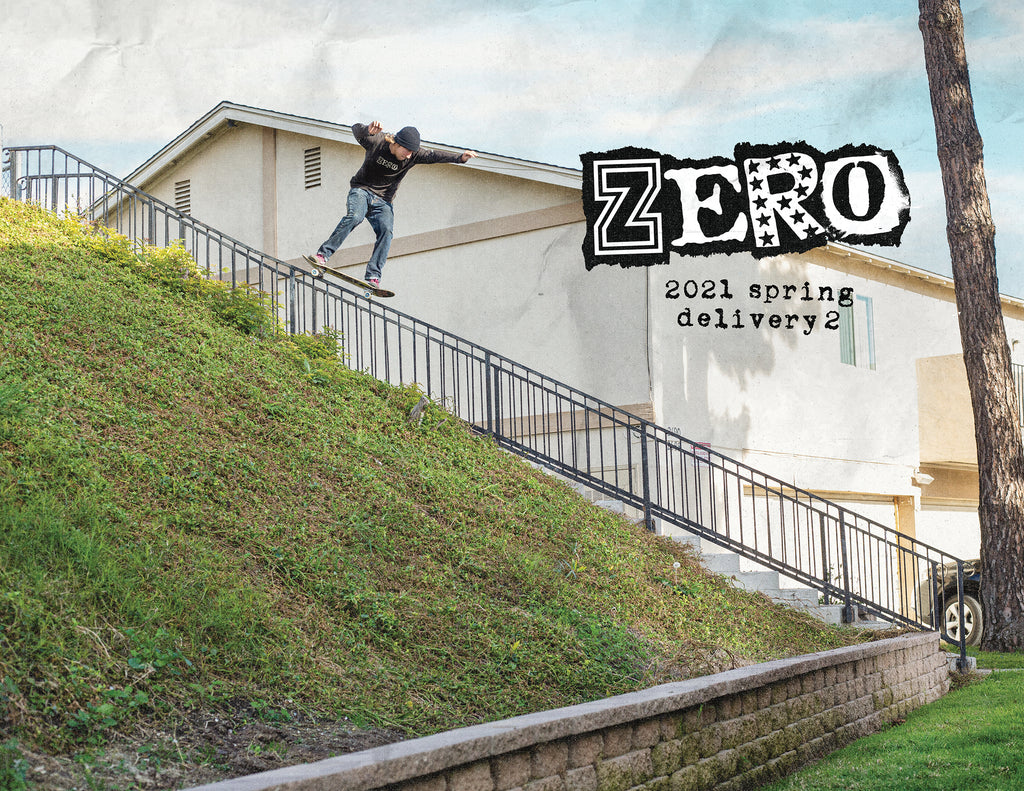 Image of skateboarder on railing for the Zero Skateboards 2021 Spring Delivery 2