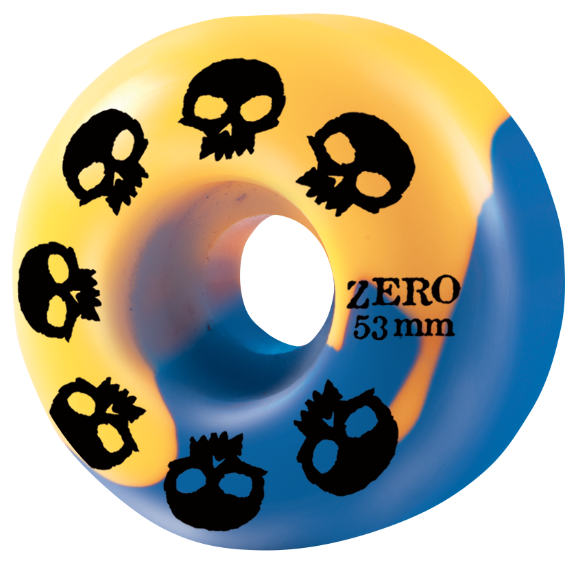 Multi-Skull Wheel - Blue/Yellow Swirl 53mm