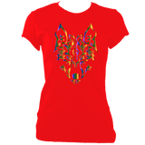 Rainbow Tribal Wolf Head Women's Fitted T-Shirt