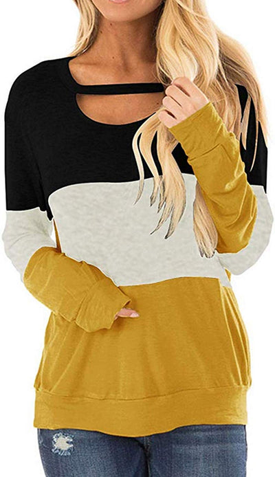 Women's Color Block Tunics Chest Cutout Long Sleeve Shirts Scoop Neck Casual Loose Tops