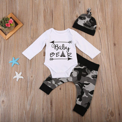 Baby Boys Cute Letter Print Romper+Camouflage Pants+Hat Outfits Set 3PCS