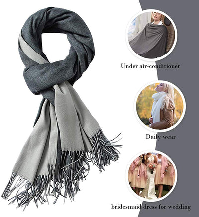 Cashmere Feel Scarf - Lightweight Scarfs Women Large Soft 2 Tone Shawls and Wraps (10 Colors Available)
