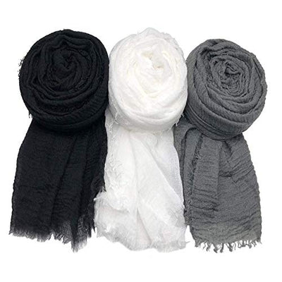 3PCS Women Soft Cotton Hemp Scarf Shawl Long Scarf and Wrap Big Head Scarf