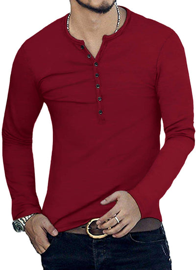 Mens Casual Slim Fit Basic Henley Long Sleeve Fashion T-Shirt