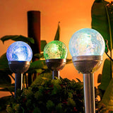 Solar Lights Outdoor Yard Decoration Cracked Glass Ball Dual LED Garden Lights Landscape/Pathway Lights -3 Pack