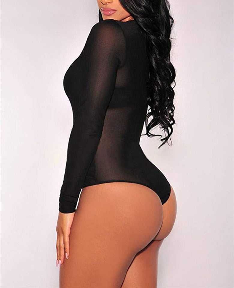 Bodysuit Women Long Sleeve Black Sheer Mesh Sleeveless Sexy Lingerie Clubwear