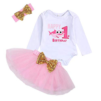 Baby Girl Birthday Shark Cake Smash Outfit Infant Girl 1st Birthday Romper Tutu Skirt Headband Clothes Set