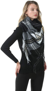 Blanket scarf women Winter Tartan Plaid Tassel Pashmina Wrap Gorgeous Warm Soft Scarves