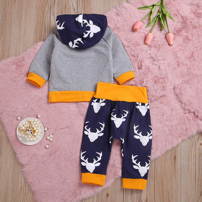 Baby Boy Deer Long Sleeve Hoodie Tops Sweatsuit Pants Outfit Set