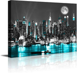 "Canvas blue sea New York paintings Wall Art Stretched bedroom artwork Art Prints Wall Decoration Painting bedroom wall decor Office  Black White 12""x16"""