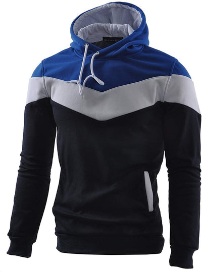 Mens Novelty Color Block Hoodies Cozy Sport Outwear