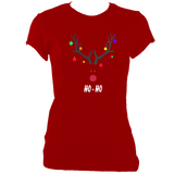 Christmas reindeer head women's fitted t-shirt