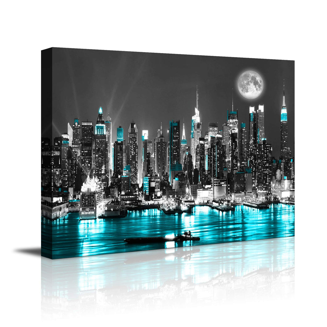 Canvas blue sea New York paintings Wall Art Stretched bedroom artwork Art Prints Wall Decoration Painting bedroom wall decor Office  Black White 12