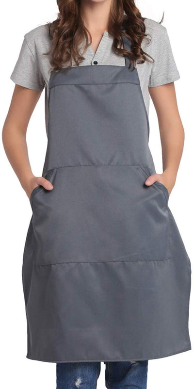 Adjustable Bib Apron Pocket Extra Long Ties Women Men Chef Kitchen Home 13 Colors (Yellow)