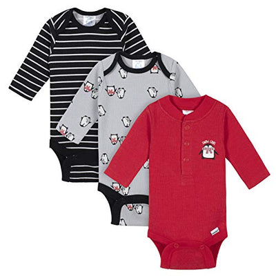 Baby Boys 3-Pack Long Sleeve Thermal Onesies Bodysuits
