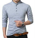 Men's Casual Slim Fit Shirts Pure Color Long Sleeve Polo Fashion T-Shirts