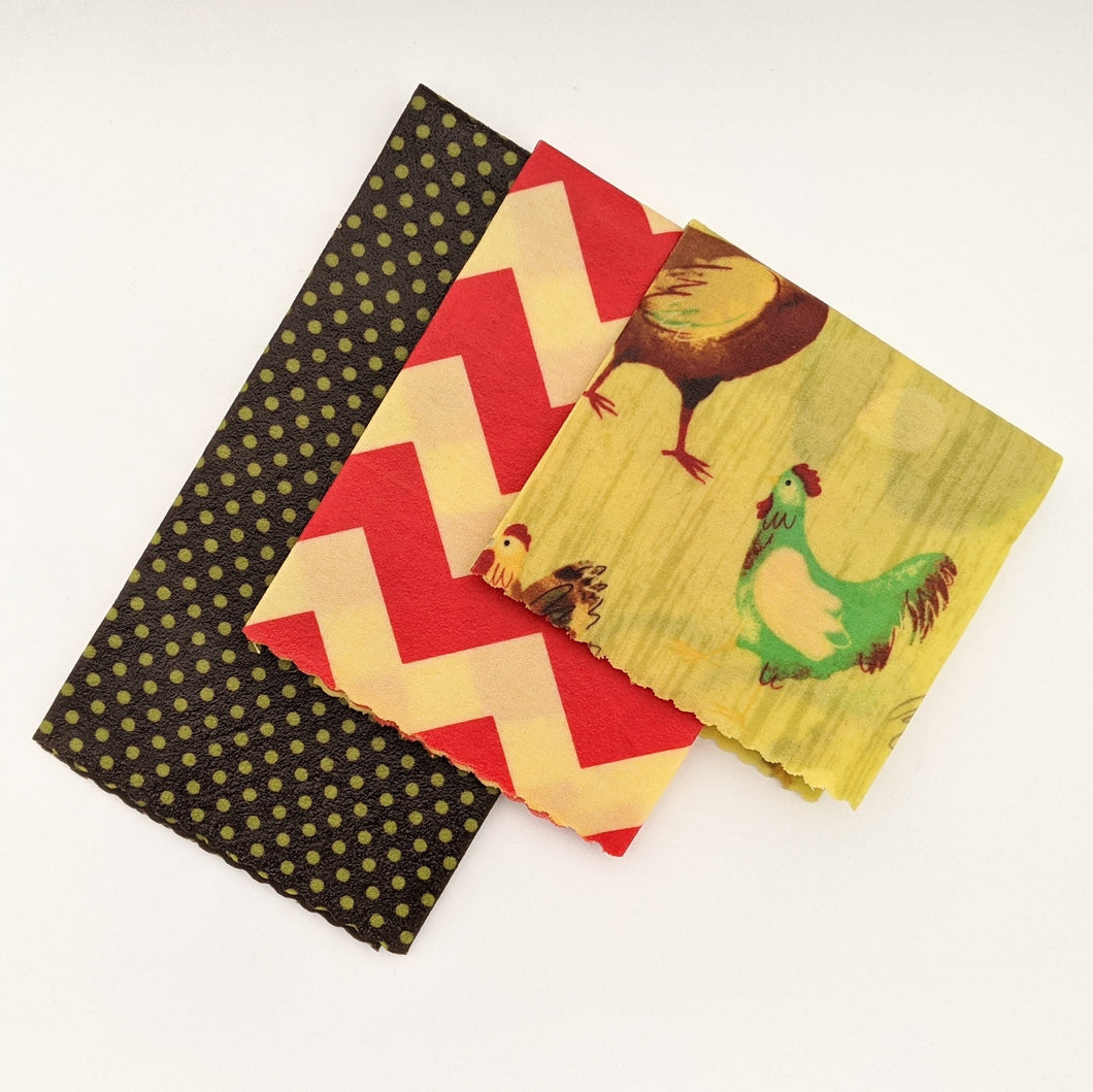 Cluckers Beeswax Wrap 3 Pack - Small Medium Large