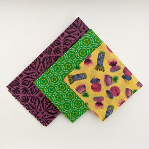 Potted Pretties Beeswax Wrap 3 Pack - Small Medium Large