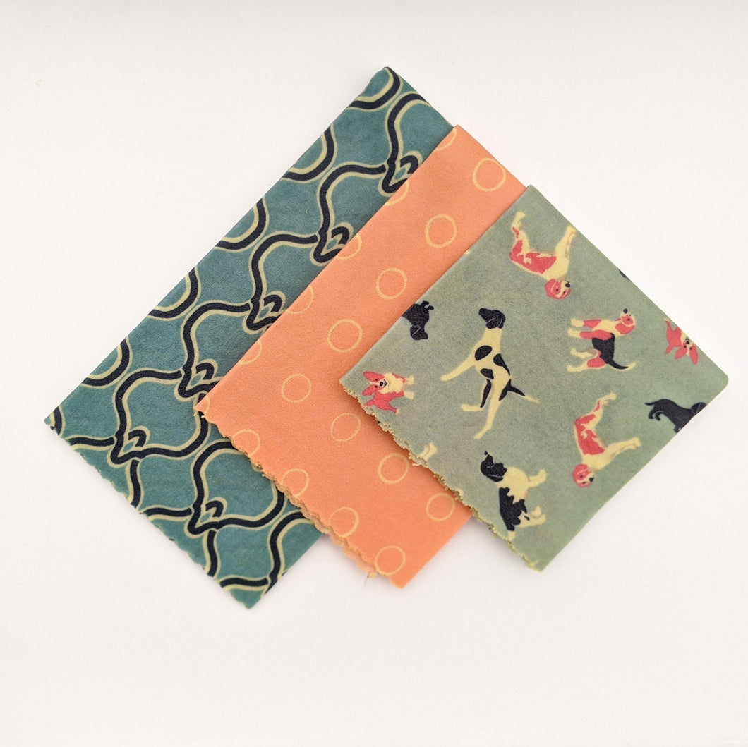 Pups and Pink Beeswax Wrap 3 Pack - Small Medium Large
