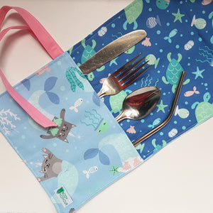 Mer-kitty-corns Cutlery Roll and Napkin All-In-One