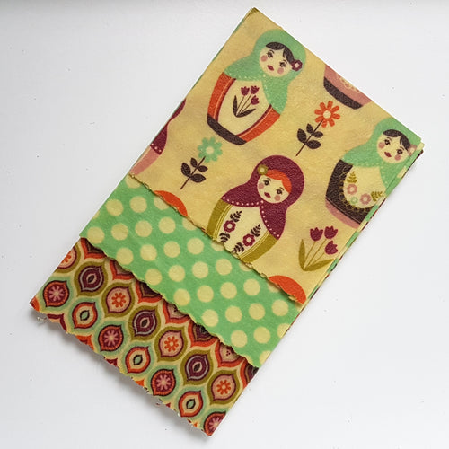 Russian Dolls Beeswax Wrap 3 Pack - Small Medium Large