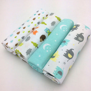 4pcs/lot newborn baby bed sheet bedding set 76x76cm for newborn crib sheets cot linen 100% cotton Flannel printing baby blanket