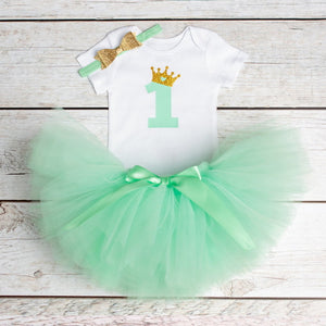 Newborn Baby Girl Clothing Little Girl 1st Birthday Outfits Baby Romper+Tutu Dress+Headband Infant Party Costume Kids Clothes