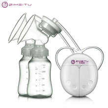 ZIMEITU Double Electric breast pumps Powerful Nipple Suction USB Electric Breast Pump with baby milk bottle Cold Heat Pad Nippl
