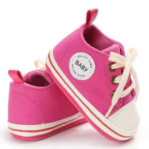Baby Shoes 2017 Infant first walkers Tollder Canvas  Shoes Lace-up Baby Girls Sneaker Prewalker 0-18M