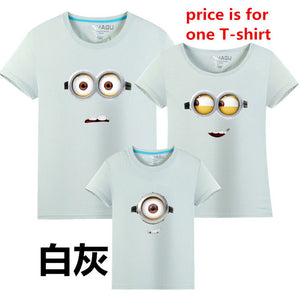 MANHAGU Brand 1piece Family Matching Outfits Minions T Shirts mother & kids T-shirt Family Clothing Mother Daughter father son