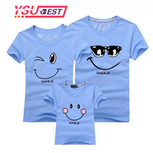 New 2017 Cotton Family Matching T Shirt Smiling Face Shirt Short Sleeves Matching Clothes Fashion Family Outfit Set Tees Tops