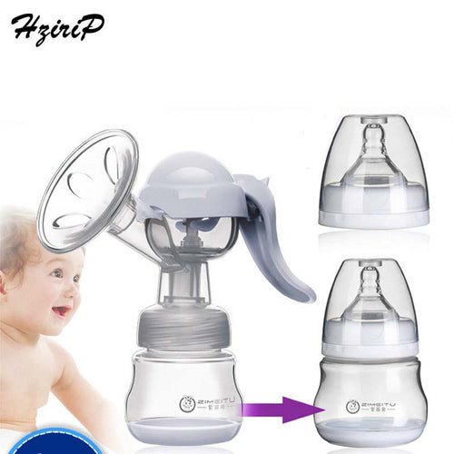 Manual Massaging Breast Pump Silica Gel BPA Free Big Suction Breast Milk With Milk Bottle Nipple Function Breast Pumps 2 Colors