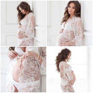 Le Couple White Lace Maternity Dress Eyelashes Lace Pregnancy Dress Maternity Potography Props Maternity Nightdress Sleepwear