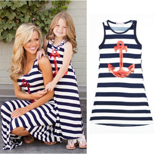 Summer New Fashion Family Matching Outfits Mom Daughter Striped Anchors Girls Beach Dress Vest Dress