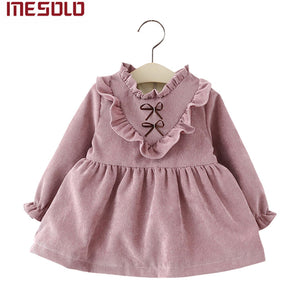 New 2017 cotton Kids clothes Girls long-sleeved Girls baby dress baby clothing dress vestidos