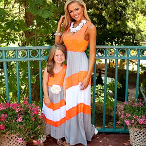 2018 Mommy and me family matching mother daughter dresses clothes striped mom and daughter dress kids parent child outfits