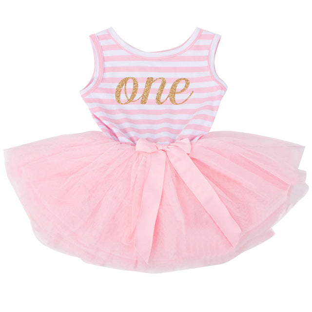 Sweet Pink My Little Girl First 1st Birthday Party Dress Tutu Cake Smash Outfits Infant Dress Baby Girl Baptism Clothes 9 12M
