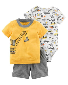 2018 Baby Boy Summer Clothes Set 3pcs Rompers +Pants + T Shirt Outfit Cartoon Helicopters Kids Clothing Striped Bodysuit Infant