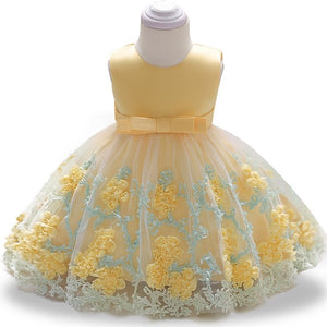 New Fashion Formal Newborn Wedding Dress Baby Girl Bow Pattern For Toddler 1 Years Birthday Party Baptism Dress Clothes