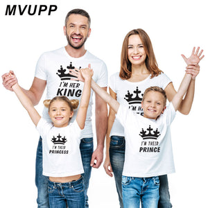 Family Look mommy and me Matching Outfits Clothes Father Mother mom Daughter Son baby Boys Girls T-shirt King Queen tshirt Summe