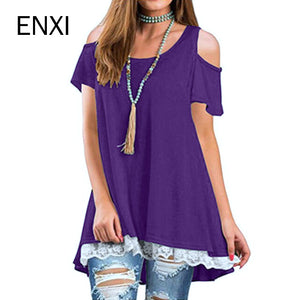 ENXI 2018 Summer Maternity Clothing Lace Stitching Cotton Maternity Tees Clothes For Pregnant Women Pregnant Top Fashion