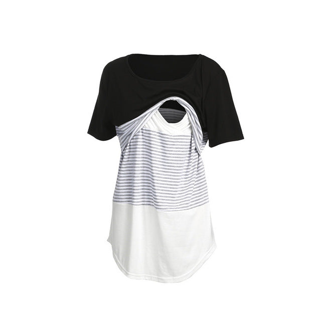 Women Pregnancy Clothes Maternity Clothing Breastfeeding Tee Nursing Tops Striped Short Sleeve T-shirt