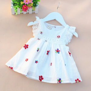 Causal Summer Baby Girl Dress Flower Fruit Dresses For Girls Cotton Print Sleeveless Dress Baby Princess Infant Clothing Vestido